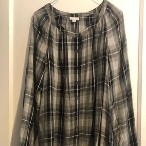 Woman's J. Jill blk plaid flowing top blouse sz M